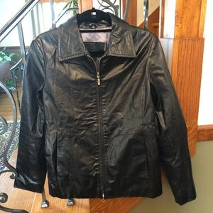 Guess Vintage 90s Zip Moto Leather Jacket M